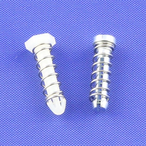 Spring loaded push pins for heat sink attachment