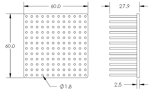 Mechanical Drawing of Cold Forged Round Pin Heat Sink