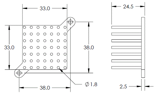 Mechanical Drawing of Round Pin Heat Sink with Push Pins