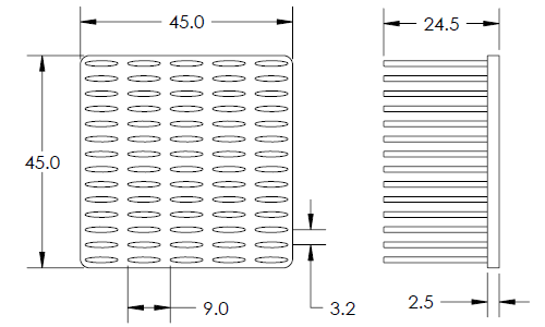 Mechanical Drawing of Cold Forged Elliptical Pin Heat Sink