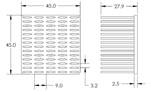 Mechanical Drawing of Precision Forged Elliptical Pin Heat Sink