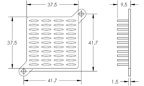Mechanical Drawing of Elliptical Pin Heat Sink with Push Pins