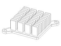 S804-375R-145 Elliptical Pin Heat Sink with Push Pins