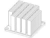 S804-450R-279 Elliptical Pin Heat Sink with Push Pins