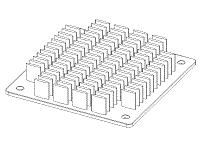 S804-6000-095 Elliptical Pin Heat Sink with Push Pins