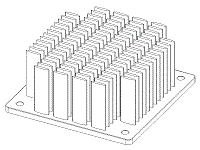 S804-6000-245 Elliptical Pin Heat Sink with Push Pins