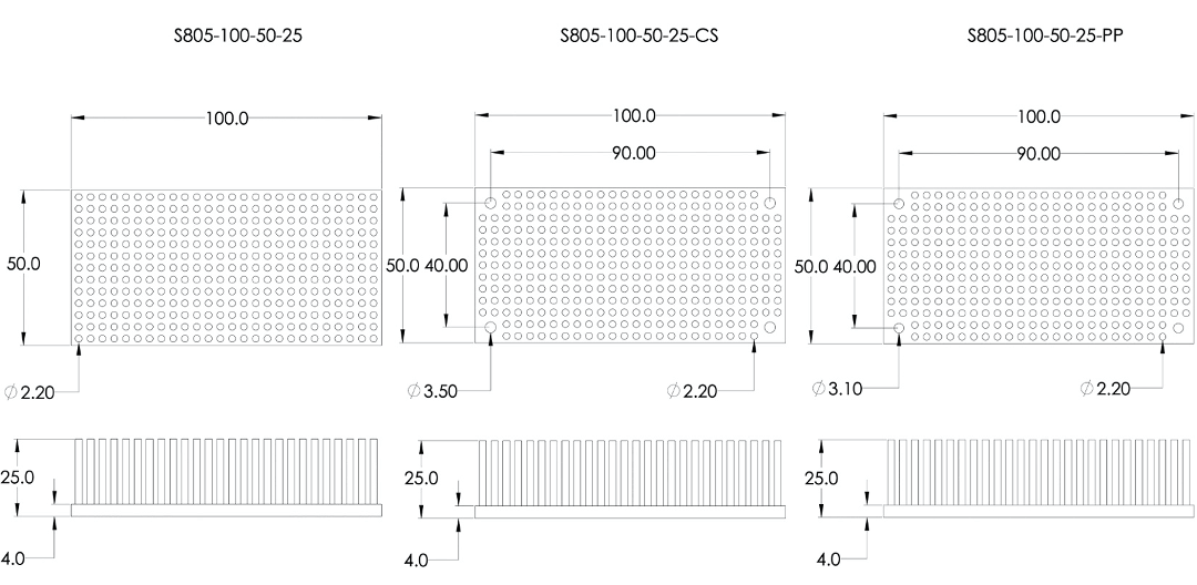 Mechanical Drawing of Precision Forged Round Pin Heat Sink