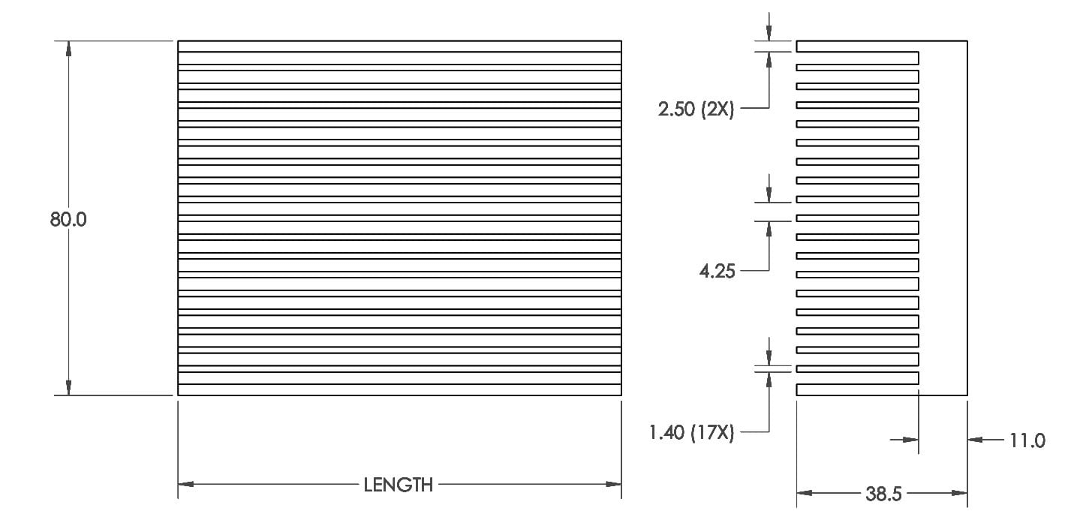 Mechanical Drawing of Plate Fin Heat Sinks with High Aspect Ratios for High Airflow