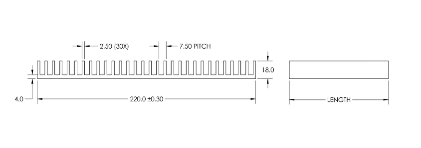 Mechanical Drawing of Plate Fin Heat Sinks for Low to Medium Airflow